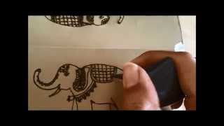 henna elephant drawing lesson