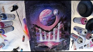 Pink waterfalls - SPRAY PAINT ART by Skech