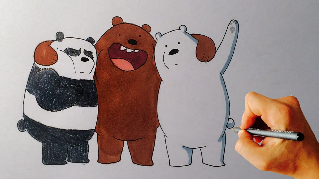 how to draw grizzly panda and ice bear from we bare bears cartoon network drawing tutorial youtube
