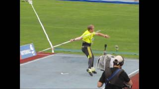 javelin throw,lateral and back ,slow motion