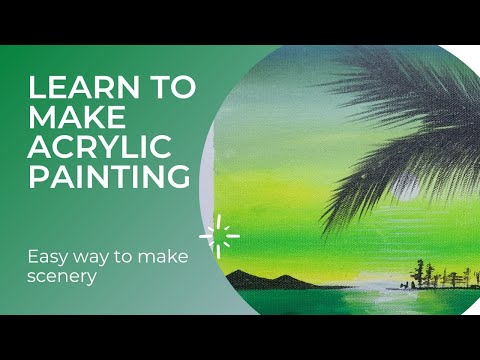 Easy sunset scenery painting tutorial for beginners/ step by step sunset Acrylic Painting