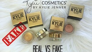 REAL vs FAKE 1 Creme Eyeshadow (Copper Rose Gold) Kylie Cosmetics Birthday Edition