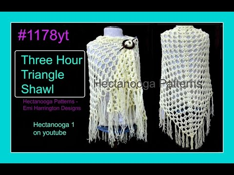 1178yt FREE CROCHET PATTERN, Easy 3 hour TRIANGLE SHAWL,  top down, all sizes, sweaters & tops