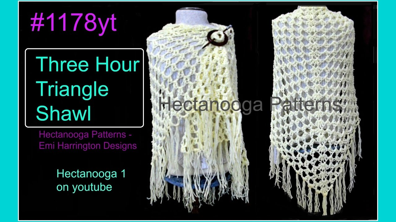 1178yt FREE CROCHET PATTERN, Easy 3 hour TRIANGLE SHAWL, top down ...
