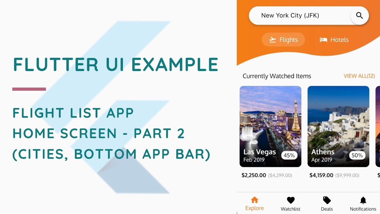 Flight List UI Example In Flutter | Home Screen | Part 2
