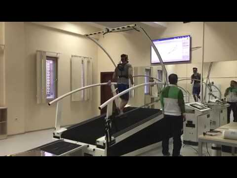 VO2max test wearing COSMED K5 metabolic technology at Turkish National Olympic Center in Ankara
