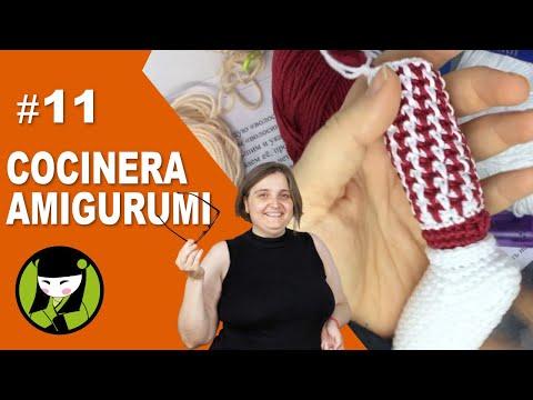 COCINERA AMIGURUMI 11 como tejer rallas verticales trabajando en horizontal