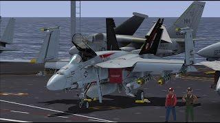FSX VRS F-18E Start Up And Catapult Launch