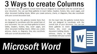 3 Ways to Create Multiple Columns in MS Word - Microsoft Word Tutorial