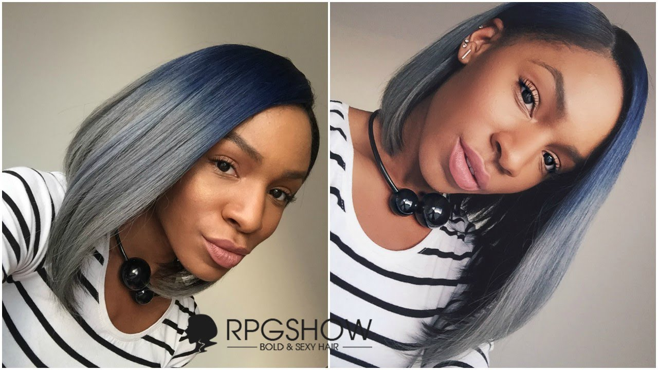 Rpgshow Blue And Grey Ombre Bob Dope Short Hairstyle Youtube