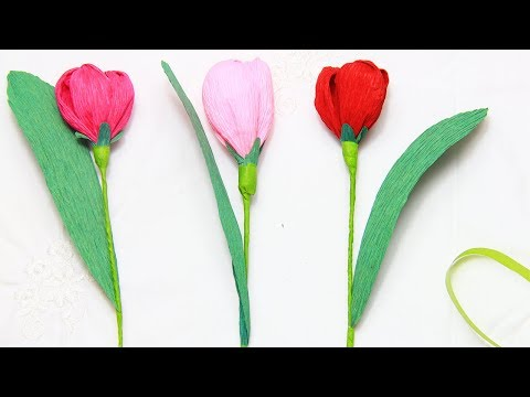 How to make paper tulip flowers step by step.