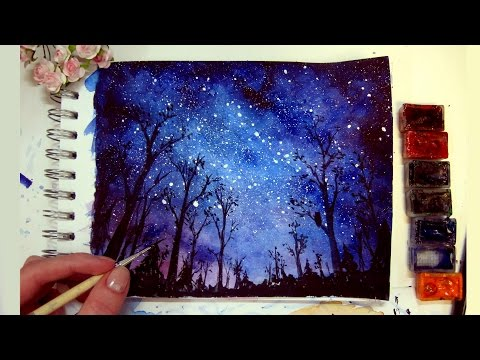 Night Sky  Speed Painting Watercolor & Gouache