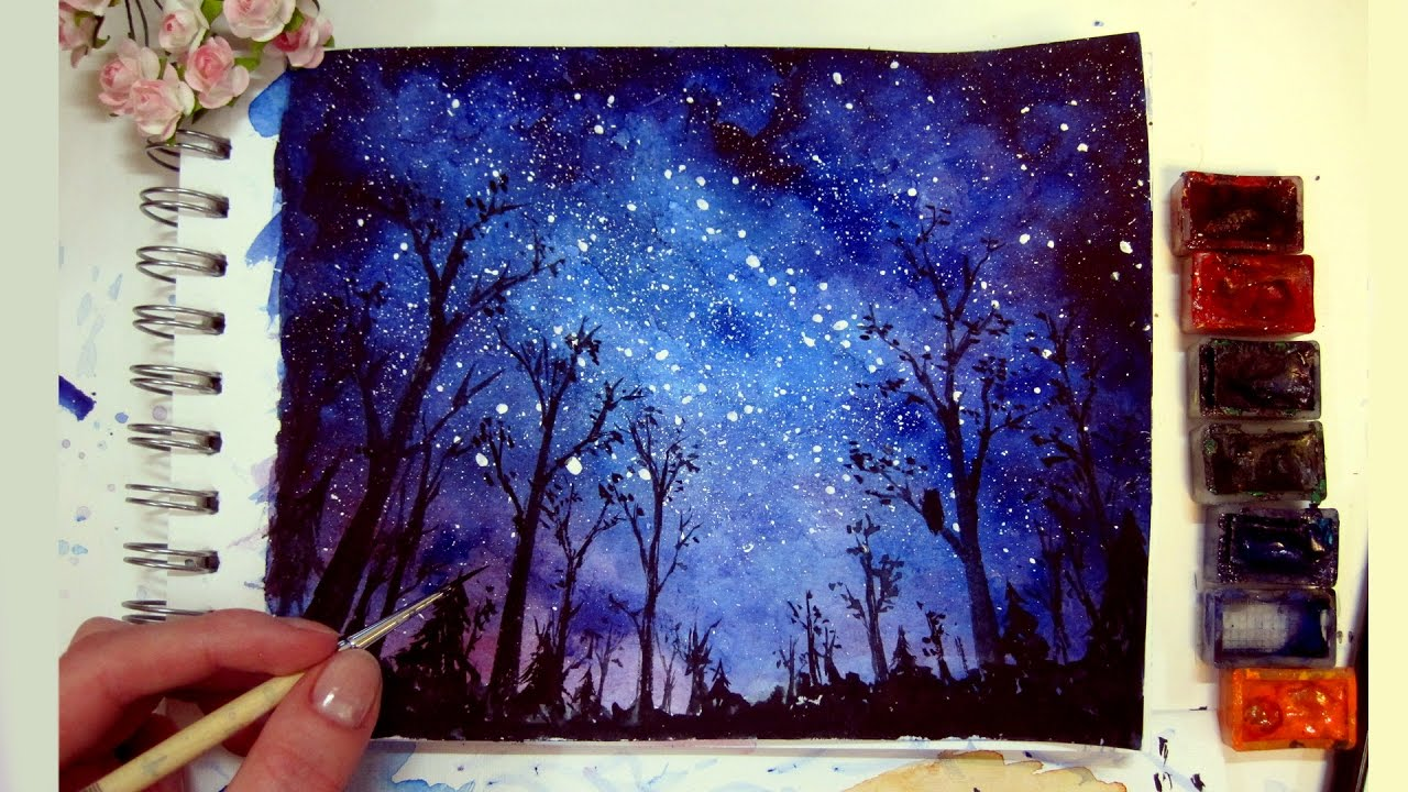 Night sky speed painting watercolor gouache youtube for How to paint a portrait in watercolor