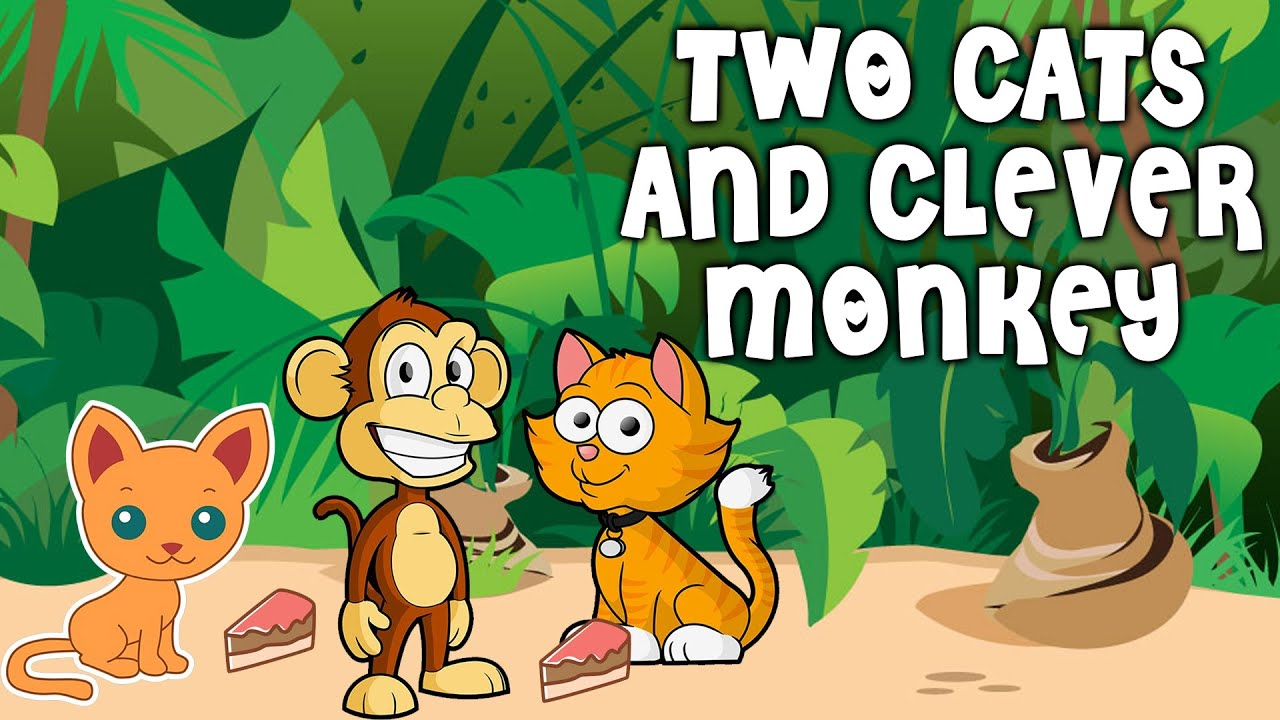 The Story of 2 Cats & A Monkey | Panchatantra Tales For Kids In English |  Cartoon Stories For Kids