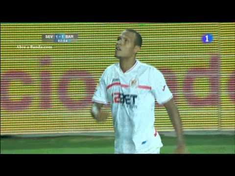 Sevilla FC 1 - 1 FC Barcelona Gol de Luis Fabiano Supercopa España Ida