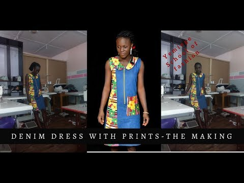 The making of the denim dress with print patches