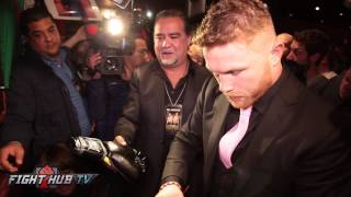 BTS- Fans mob & go crazy for Canelo in New York as he signs autographs for him