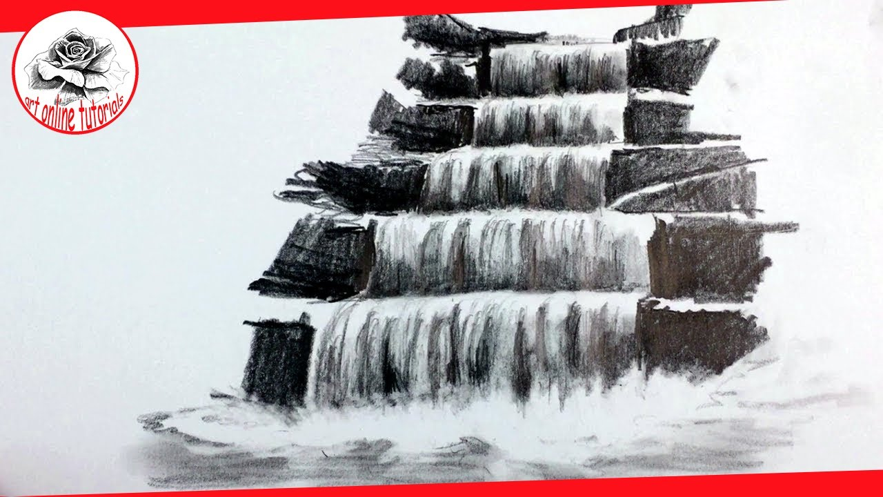 How to draw a realistic waterfall with pencil pencil drawing techniques subtitled on screen
