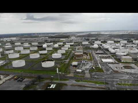08-28-20 Westlake, LA Hurricane Laura Oil & Gas Industry Severe Damage Aftermath Of Plant Fire Drone