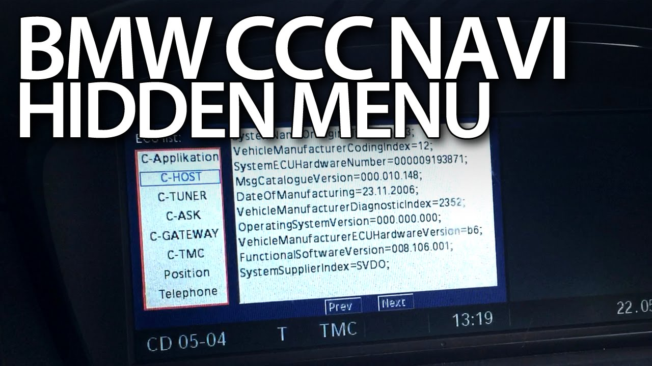 How to enter hidden menu in BMW iDrive CCC navigation (E60 E90 E63 E81 X5  X6)