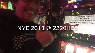 "NEW YEARS EVE 2018 JACKPOT!!! .25CENTS on ""CRAZY BILL"" $2.50 MAX BET CHOCTAW CASINO DURANT, OK"