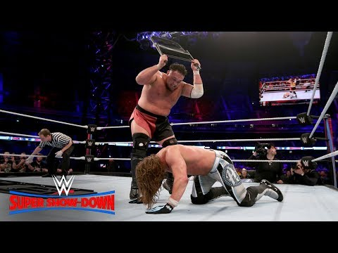 Samoa Joe smashes AJ Styles through a steel chair: WWE Super Show-Down 2018 (WWE Network Exclusive)