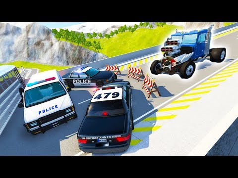 DRAG SEMI VS POLICE BARRICADE ON CAR JUMP ARENA! - BeamNG Drive Police Roadblock