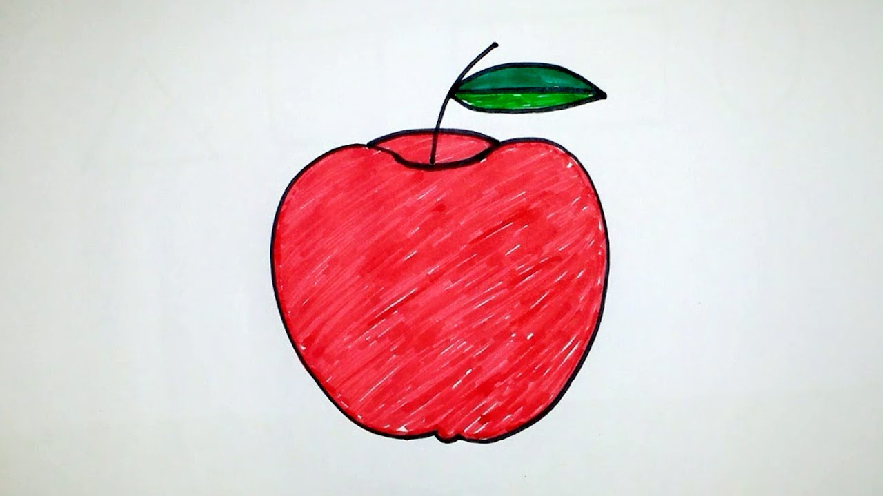 How to draw an apple step by step for kids - telugu - YouTube