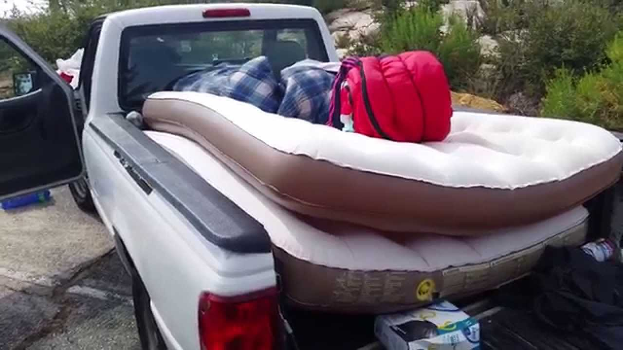 using an inflatable mattress on a truck bed of a ford ranger 2006