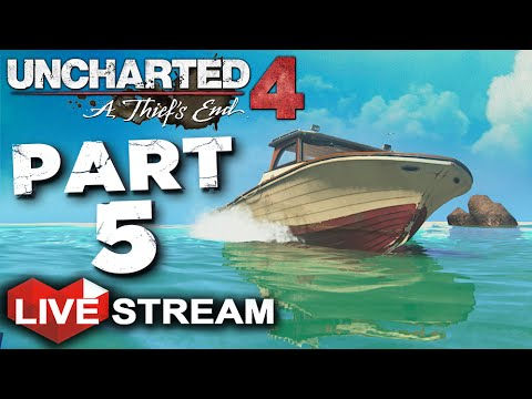 Uncharted 4: A Thief's End Gameplay | Sailing to Pirate Treasure Island! | PART 5 Live Stream