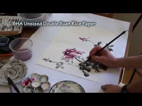 Painting Live Roses on Double Xuan Chinese Rice Paper(1/2)