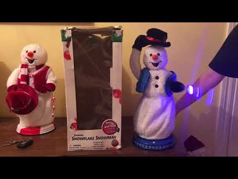 Gemmy Animated Spinning Snowflake Snowman (Blue Vest) (Gear Driven)