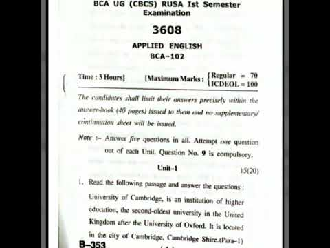 Question paper of applied english 2017 hpu bca 1 sem
