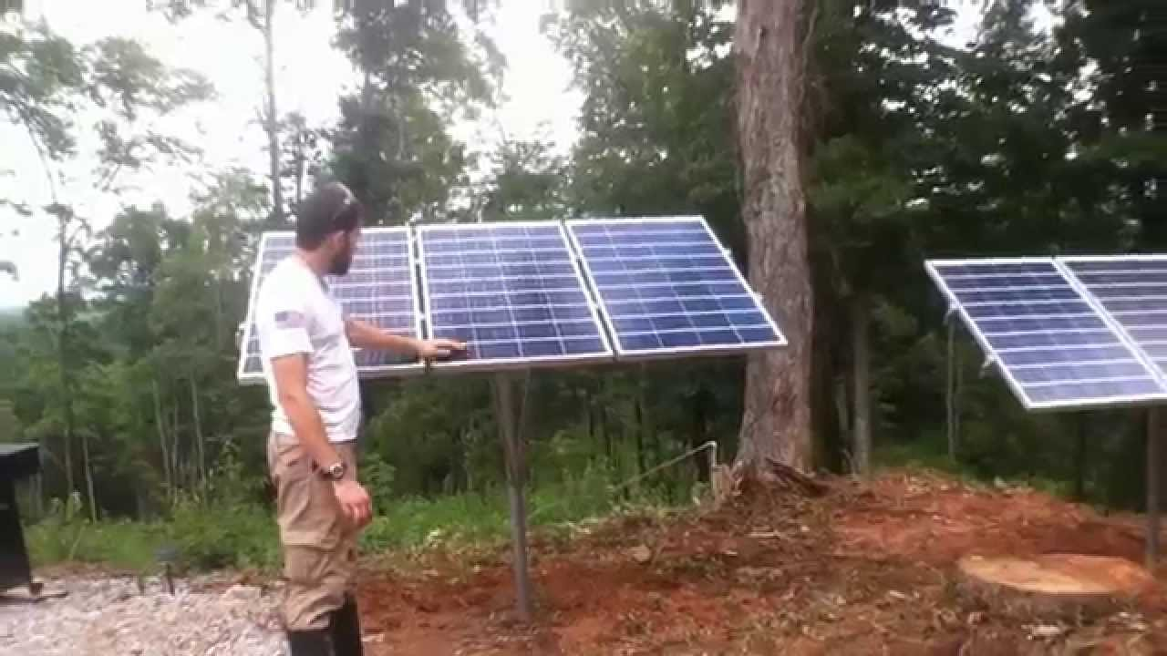 ground mount solar install and wind turbine mount on barn by off grid contracting [ 1280 x 720 Pixel ]