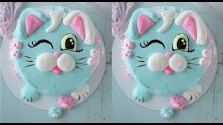 Маршмеллоу на торт. Кошка. Оформление мордашками из маршмеллоу.