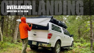 Pickup Truck Camping iฑ the RAIN (Quick Awning/Camper Extension Setup) Brook Trout Catch and Release