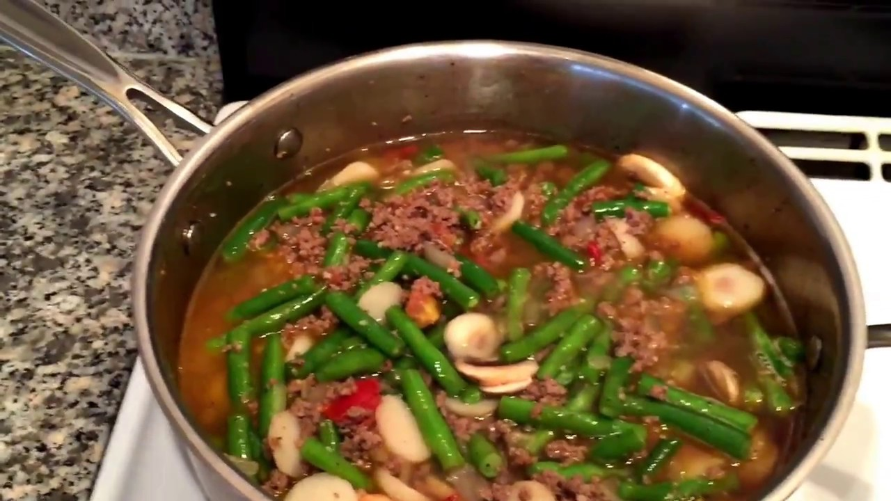 Quick And Easy Filipino Style Ground Beef With Green Beans Tutorial Youtube