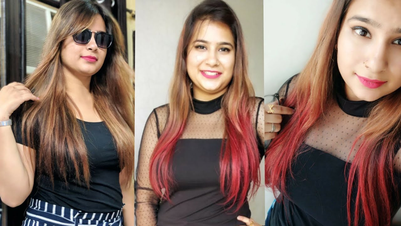 1bf85d4d7a3 Red Highlights Hair Color At Home ☆ How To Use Streax 0.6 Flame Red Hair  color ☆