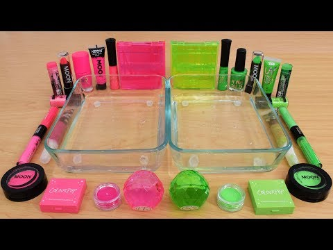 Neon Pink vs Neon Green Mixing Makeup Eyeshadow Into Slime Special Series 164 Satisfying Slime Video