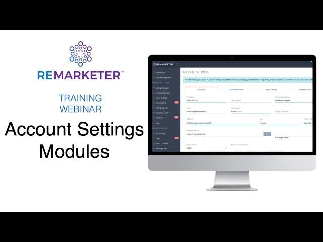 REMARKETER Training - Account Settings modules