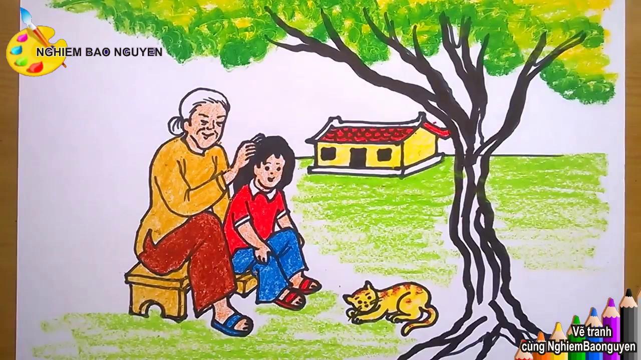 Vẽ tranh bà và cháu/How to draw Grandmother and niece