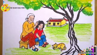 Vẽ tranh bà và cháu/How to draw Grandmother and niece