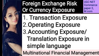 Foreign Exchange Risk or Currency Exposure in hindi & English/Multinational Financial Management