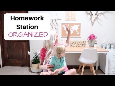 HOMEWORK STATION ORGANIZED ✏️ Back to School Organization!!! (Desk Ideas DIY)