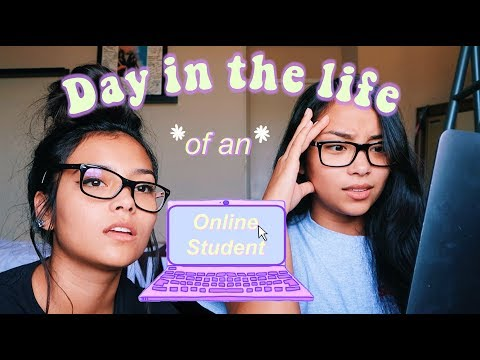 Day In the Life of an Online Student! | MontoyaTwinz
