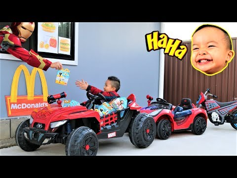 Thumbnail: Bad Baby McDonald's Drive Thru Prank With 3 Spider-Man Electric Ride On Ckn Toys