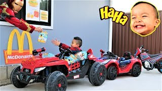 Bad Baby McDonald's Drive Thru Prank With 3 Spider-Man Electric Ride On Ckn Toys