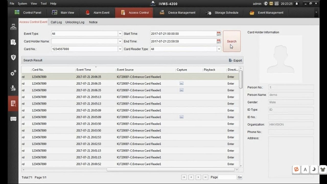 Hikvision Access Control-Event Trigger Camera take Snapshot