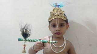 How To Dress Up Kid Like Krishna:How To Get Ready Kid As Krishna:krishna Makeup For Kids:Janmashtami