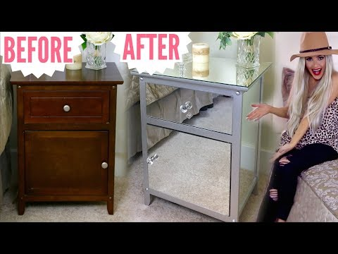 DIY Mirrored Nightstands Hack | Mirrored Furniture Makeover For Cheap // Lindsay Ann